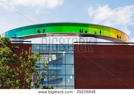 Circular, Panoramic Walkway On The Roof Of The Art Museum In Aarhus