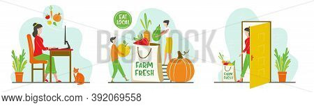 Online Ordering Steps Infographics. Grocery Delivery Concept. Eat Local Concept For Grocery Market,