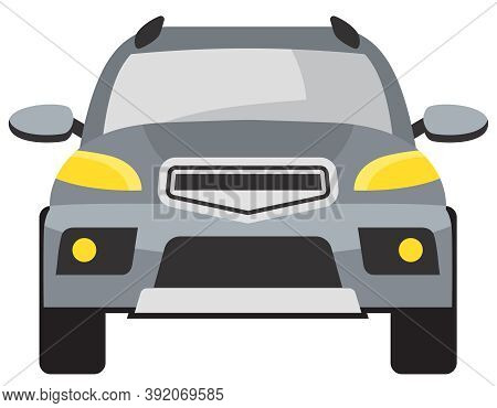 Suv Front View. Grey Automobile In Cartoon Style.