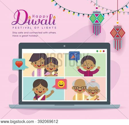 Cartoon Indian Family Having Video Chat On Laptop Screen. People Meeting Together Via Video Call To