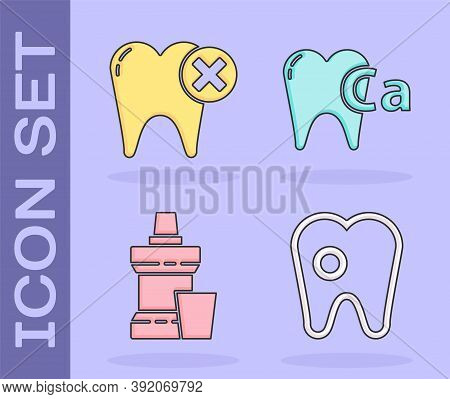 Set Tooth With Caries, Tooth With Caries, Mouthwash Plastic Bottle And Calcium For Tooth Icon. Vecto