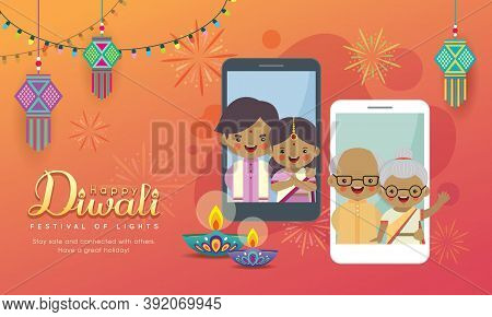 Cartoon Indian People Having Video Call With Family Via Smartphone. Online Diwali Or Deepavali Celeb