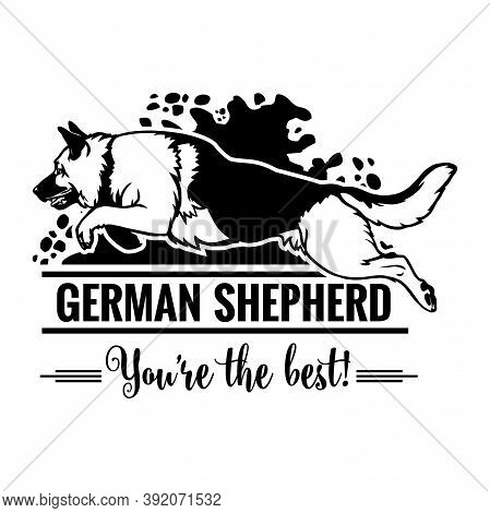 German Shepherd In Jump - Dog Happy Face Paw Puppy Pup Pet Clip Art K-9 Cop Police Logo Svg Png Clip