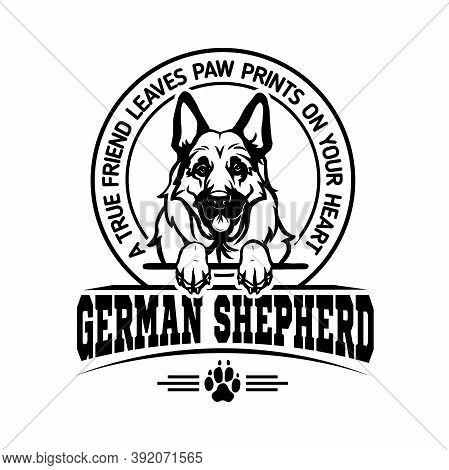 German Shepherd - Dog Happy Face Paw Puppy Pup Pet Clip Art K-9 Cop Police Logo Svg Png Clipart Vect