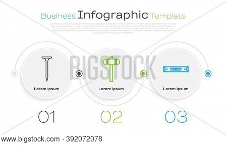 Set Line Metallic Nail, Sledgehammer And Construction Bubble Level. Business Infographic Template. V