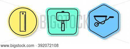 Set Line Ruler, Sledgehammer And Wheelbarrow. Colored Shapes. Vector