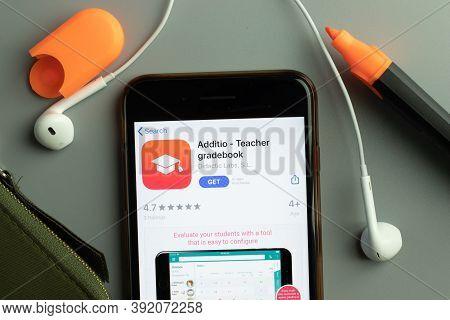New York, Usa - 26 October 2020: Additio Teacher Gradebook Mobile App Icon Logo On Phone Screen Clos