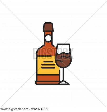 Port Wine Bottle And Glass Color Line Icon. Alcoholic Beverages.
