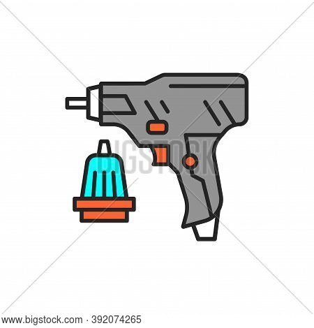 Electric Screwdriver Color Line Icon. Pictogram For Web Page, Mobile App, Promo.