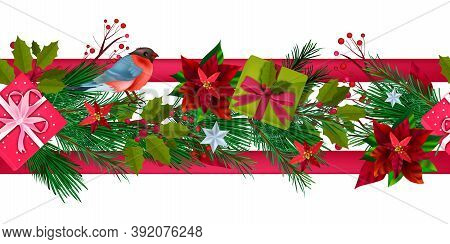 Winter Christmas Poinsettia Seamless Border With Bullfinch, Fir Branches, Gift Boxes, Berries. X-mas
