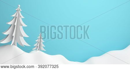 Winter Abstract Background, Pine, Spruce, Fir Tree Art Paper Cut Origami With Blue Pastel Sky. 3d Re