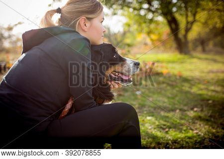 Best Friend. Disabled Woman Walking Down And Training Outdoors In Forest, Practicing. Active Woman W