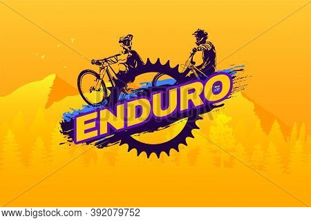 Enduro Mountain Biking Logo Template. Typography Design With Riders And Bicycle Chainring Silhouette