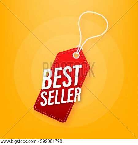 Best Seller Price Tag. Best Seller Red Label. Retail Badge. Advertisement Symbol. Vector Illustratio