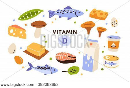 Collection Of Vitamin D Sources. Food Enriched With Cholecalciferol. Dairy Products, Fish, Mushrooms