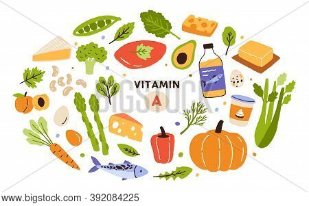 Collection Of Vitamin A Sources. Healthy Food Containing Carotene. Dairy Products, Greens, Vegetable