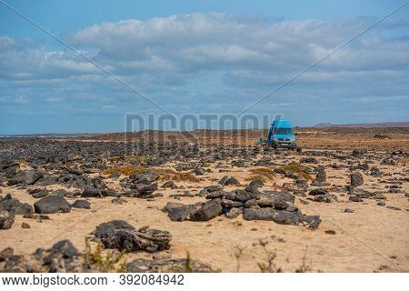 Corralejo, Fuerteventura, Spain: 2020 September 02: Young Blonde Girl On The Fuerteventura Nature Tr