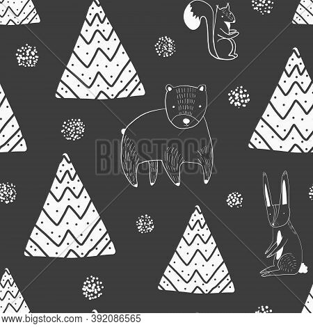 Cute Christmas Seamless Pattern With Outline White Cartoon Polar Bear, Rabbit, Squirrel And Firs On