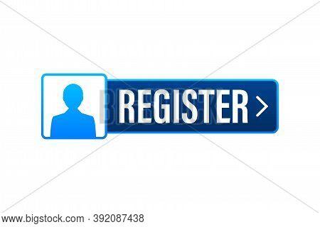 Blue Banner Register Now. Vector Stock Illustration.