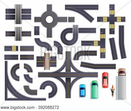 Set Of Road Parts With Roadside And Marking Including Intersections, Junctions, Crosswalks, Bridges,