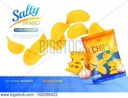 Salty Snacks Poster With Branded Product Package Realistic Images Of Chips Cheese And Garlic With Ed