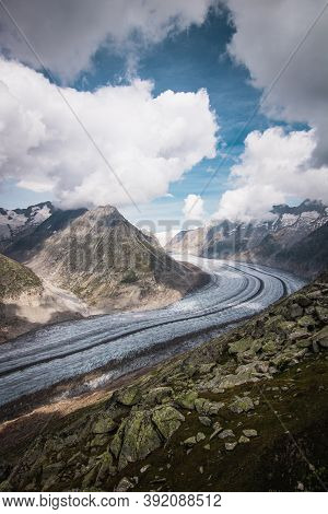 Majestic View To Aletsch Glacier, The Largest Gracier In Alps And Unesco Herritage From Bettmeralp,