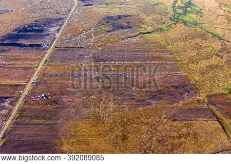 Aerial View Of Peat Cutting Aerial Is Donegal - Ireland