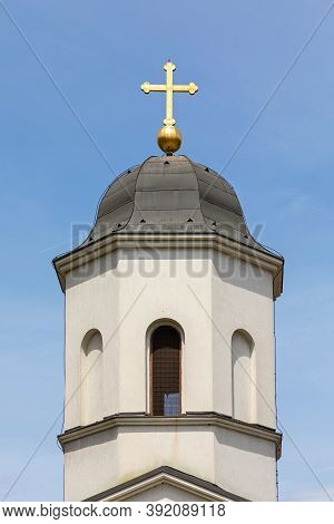 Golden Cross At Top Of Orthodox Church Tower