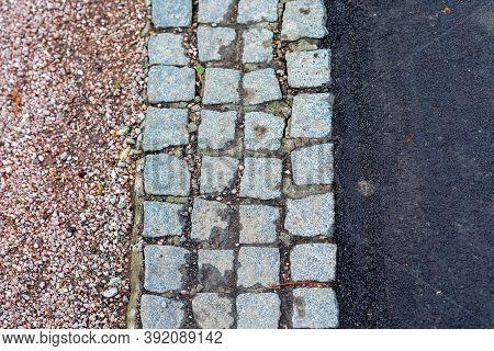 Cobblestones Asphalt Street Pavement Mix Material Surface