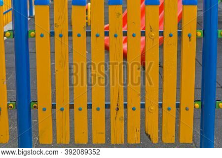 Wooden Fence Safety Protection At Kids Playground