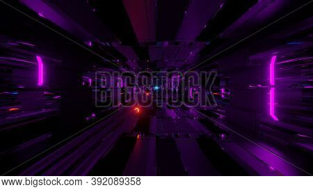 Glowing Neon Pipes In An Futuristic Science Fiction Tunnel Corridor - The Perfect Scifi 3d Illustrat