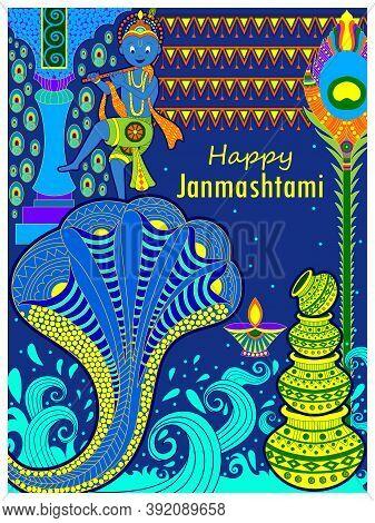 God Krishna Playing Flute On Happy Janmashtami Festival Background Of India