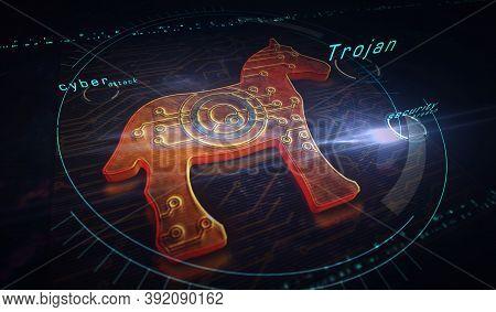 Cyber Attack With Trojan Symbol Digital 3D Illustration