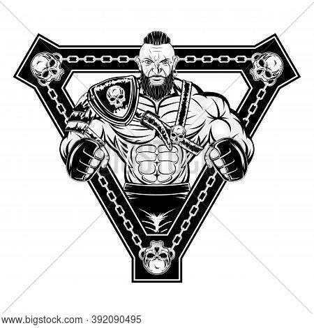 Strong Viking  In Armor And Gloves. New Gladiator. Urban Warrior. Combat Champion. Illustrations For