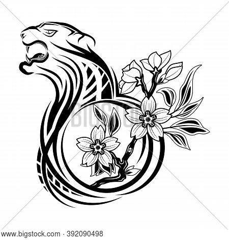 Tiger And Oriental Cherry. Rage And Love. Predator And Sakura. Black Tribal Tattoo. Sketch On Skin.