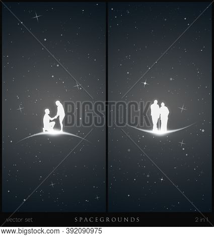 Lovers In Space. White Silhouette Of Elderly Couple. Romantic Marriage Proposal. Black And White Ver