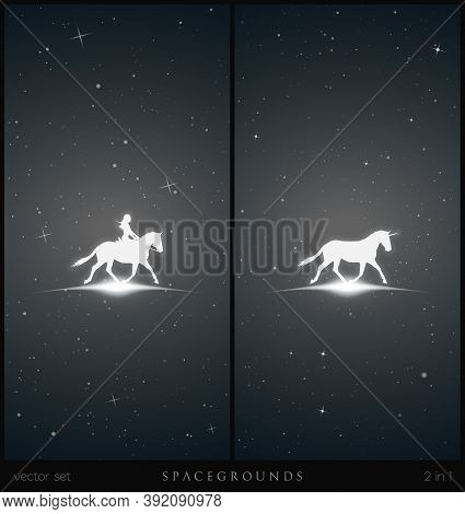 Girl On Horse In Space. White Silhouette Of Running Unicorn. Mystical Animal And Female Rider. Black
