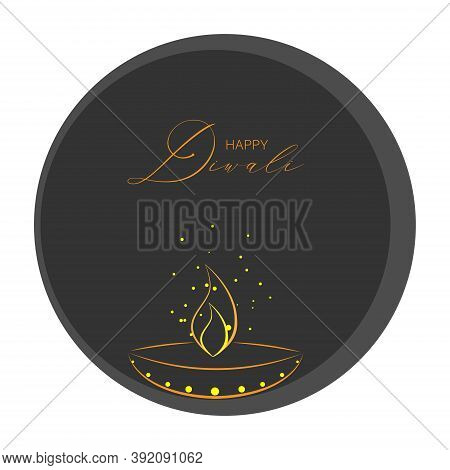 Vector Illustration Of Diwali Festival Diya Lamp. Happy Diwali Luxury Greeting Cards. Festival Of Li