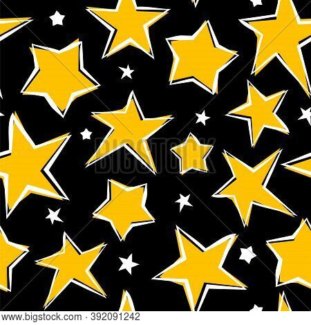 Seamless Pattern With Hand Drawn Yellow Stars On Black Background. Star Pattern. Vector Illustration