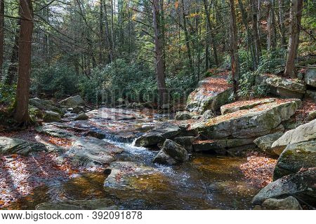 A Stream Flows Over Bedrock In Lake Minnewaska State Park And Preserve In Ulster County New York.