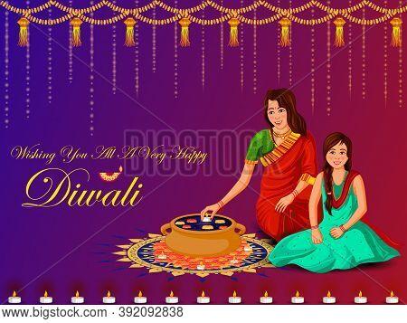 Indian Family People Celebrating Happy Diwali Festival Holiday Of India