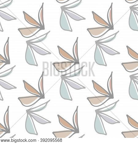 Abstract Wild Meadow Leaves Seamless Vector Pattern Background. Pairs Of Pastel Line Art Foliage And