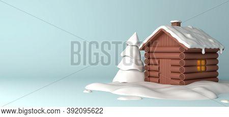 Winter Abstract Background Design Creative Concept, Cartoon Wooden House, Snow, Pine, Spruce, Fir Tr
