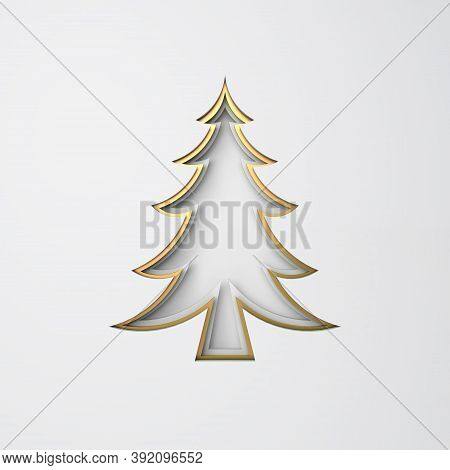 Winter Abstract, Design Creative Concept, Gold Pine, Spruce, Fir Tree Art Paper Cut Origami On White