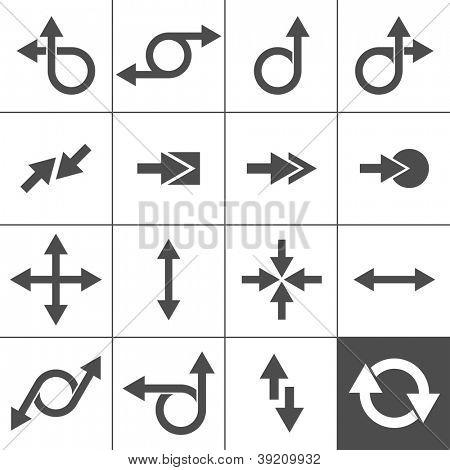 16 Arrow Icons. Arrow Signs Collection. Simplus series. Vector illustration