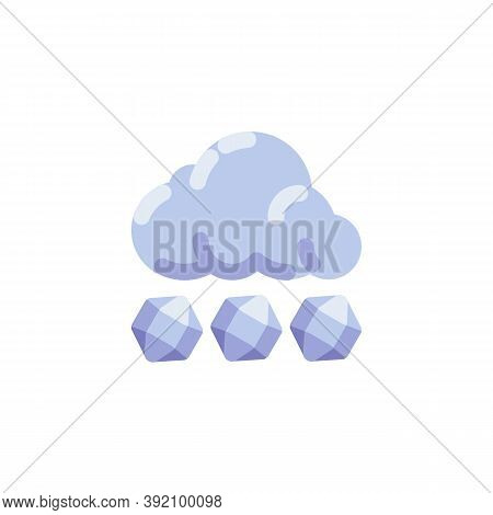 Hail Storm Weather Flat Icon, Vector Sign, Cloud With Hail Stones Colorful Pictogram Isolated On Whi
