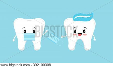 Cute Tooth With Medical Mask Give Protective Virus Mask To Another Tooth With Paste On Head. Flat De