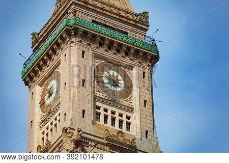 Closeup Of The Clocktower In Boston Downtown Building, Massachusetts, Usa
