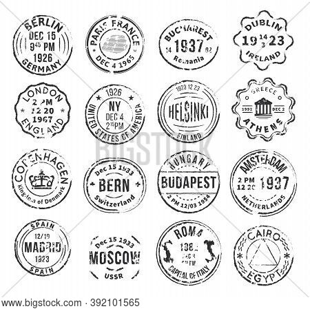Set With 16 Round Isolated Stamp Postal Signs With Different Departure Cities In Vintage Style Flat