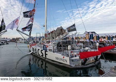 Les Sables D'olonne, France - October 19, 2020: Isabelle Joschke Boat (macsf) On The Vendee Globe 20
